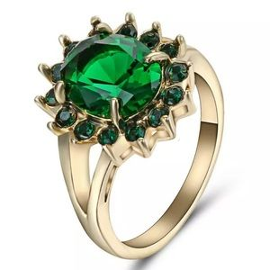 ❤️gorgeous Turkish flower emerald gold filled ring